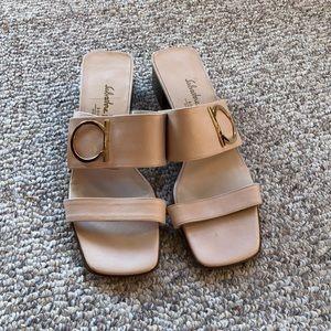 Salvatore Ferragamo Cream Logo Buckle Mule Sandals